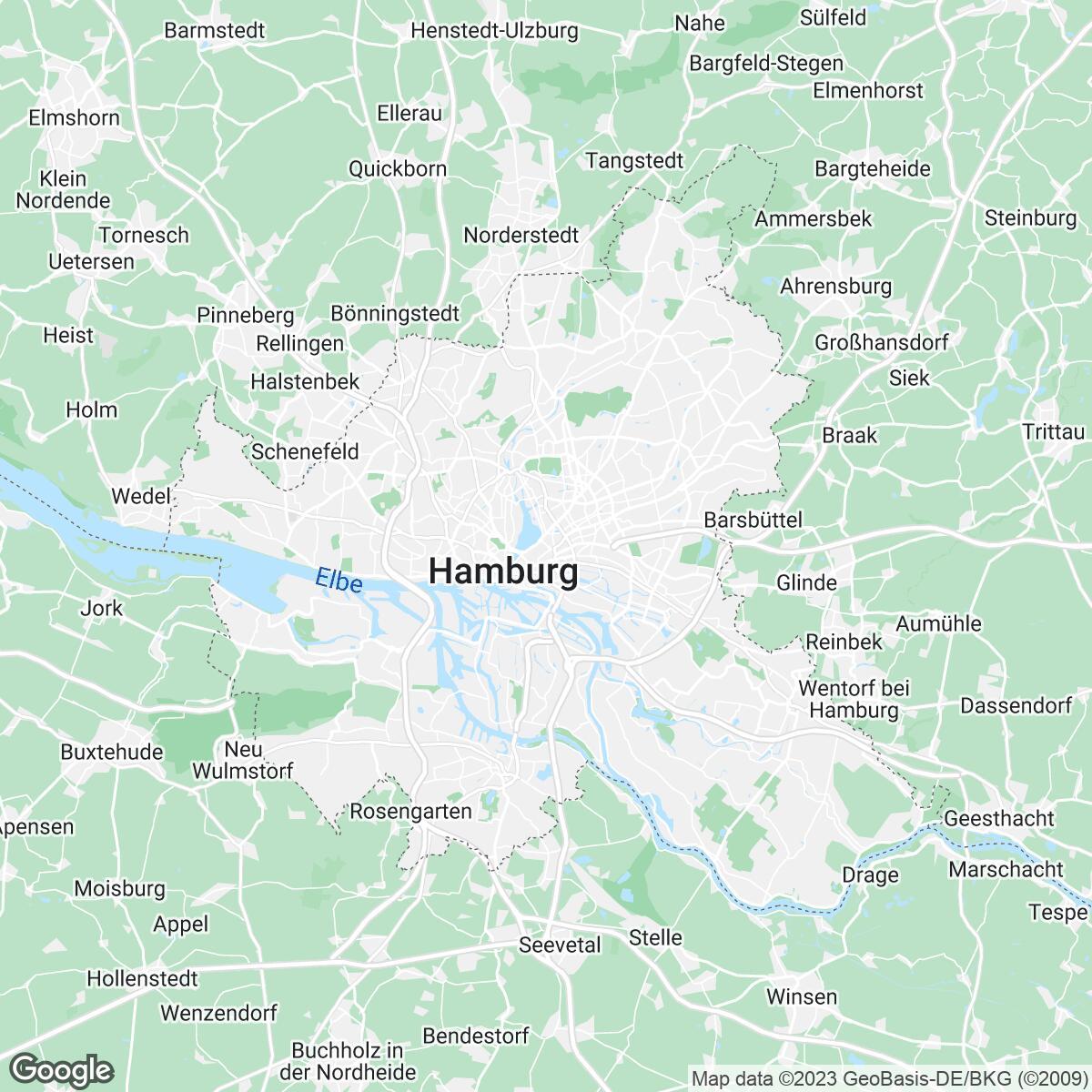 Verkaufsgebiet der Zeitungen Pinneberger Tageblatt und Hamburger Morgenpost