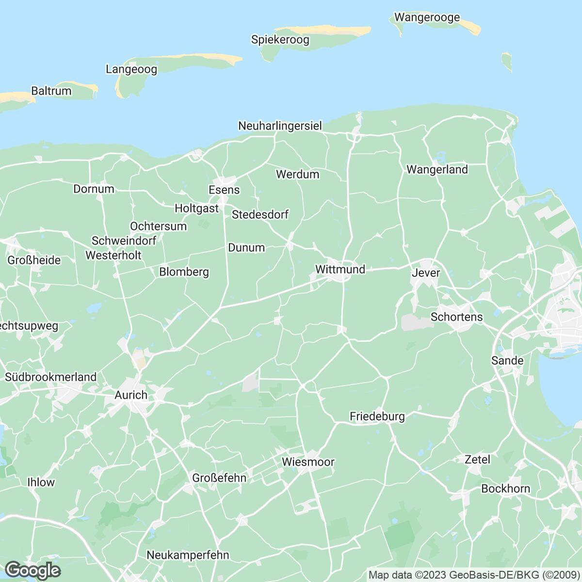 Verkaufsgebiet der Zeitungen ZN Regio/Zeitungsregion Nordwest