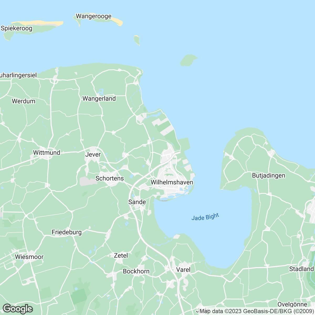 Verkaufsgebiet der Zeitungen Zeitungsgruppe Wilhelmshaven