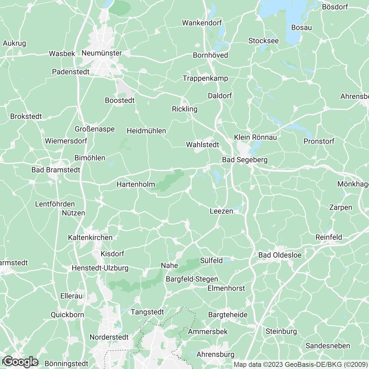 Verkaufsgebiet der Zeitungen Lübecker Nachrichten