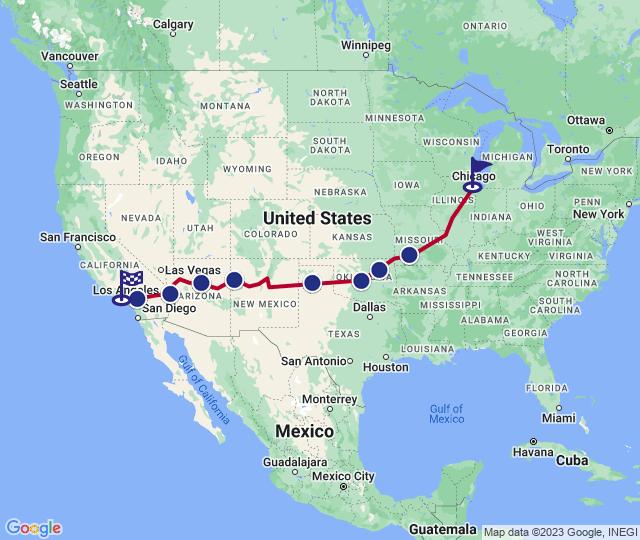 Routenverlauf Route 66: Driving the American Dream