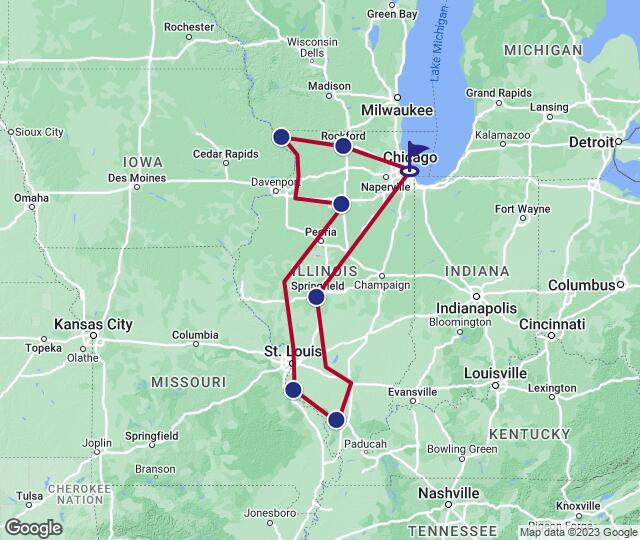 Karte - Route 66 und Old Man River im Land Lincolns