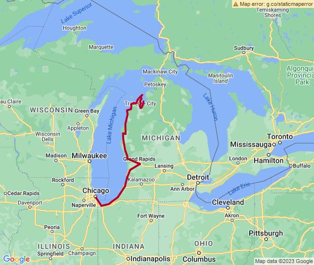 Routenverlauf Biking Michigan: Tunnel of Trees, Lakeshore & More