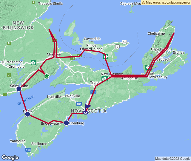 Routenverlauf Das Maritime Kanada