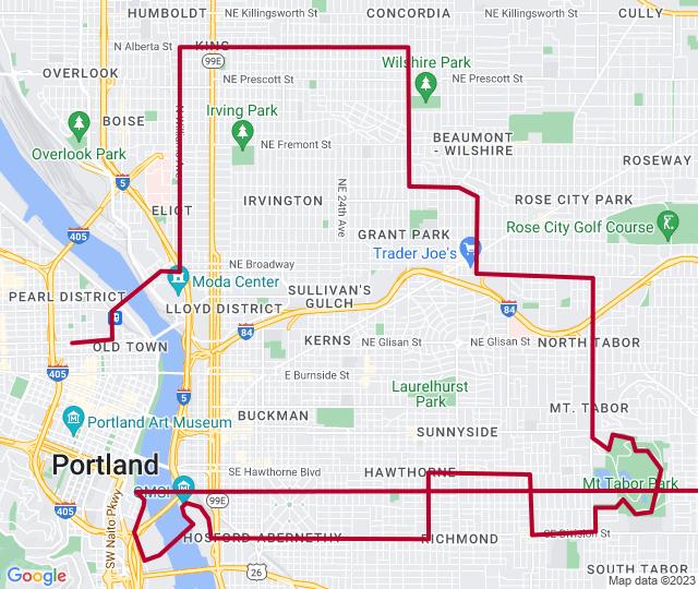 Routenverlauf Radtour durch Portland - Routenvorschlag zu kleinen Verrücktheiten
