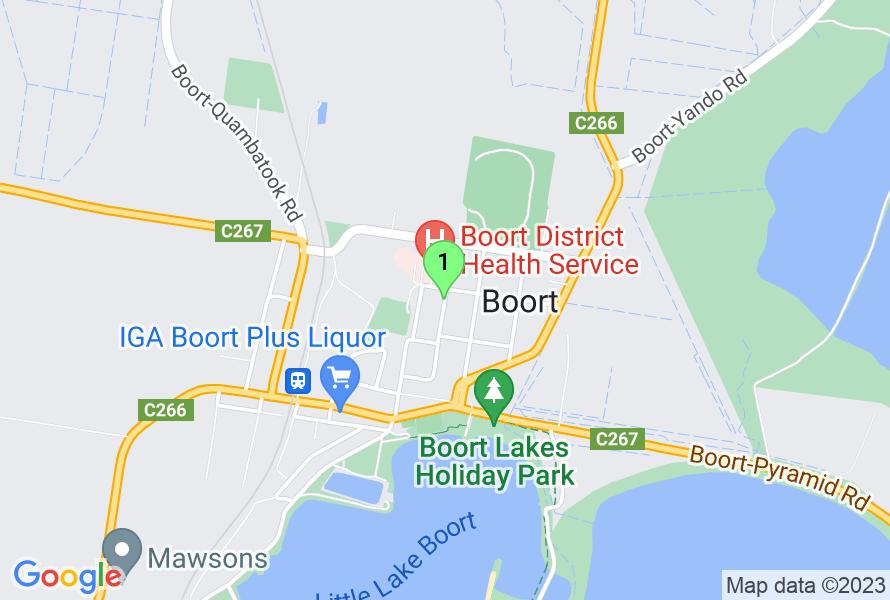 Google Map of Kiniry Street, Boort, Victoria, australia