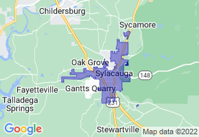Sylacauga, Alabama Border Map - Phone Size