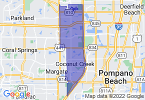 Coconut Creek, Florida Border Map - Phone Size