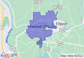 Ellwood City, Pennsylvania Border Map - Phone Size