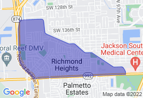 Richmond Heights, Florida Border Map - Phone Size