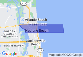 Neptune Beach, Florida Border Map - Phone Size