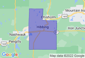 Hibbing, Minnesota Border Map - Phone Size
