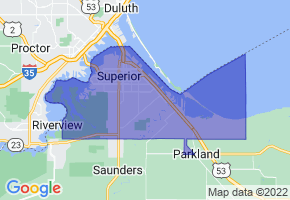 Superior, Wisconsin Border Map - Phone Size