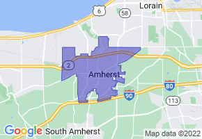 Amherst, Ohio Border Map - Phone Size