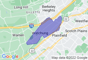 Watchung, New Jersey Border Map - Phone Size