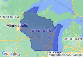 Wisconsin Border Map - Phone Size