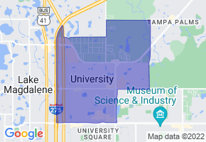 University, Florida Border Map - Phone Size