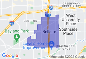 Bellaire, Texas Border Map - Phone Size