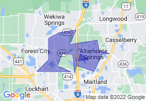 Altamonte Springs, Florida Border Map - Phone Size