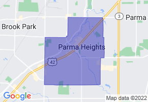 Parma Heights, Ohio Border Map - Phone Size