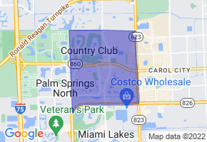 Country Club, Florida Border Map - Phone Size
