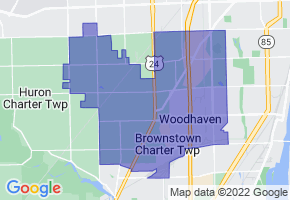 Woodhaven-Brownstown School District, Michigan Border Map - Phone Size