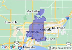 Appleton, Wisconsin Border Map - Phone Size