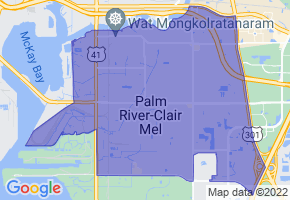 Palm River-Clair Mel, Florida Border Map - Phone Size