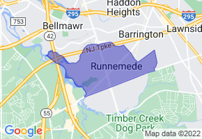 Runnemede, New Jersey Border Map - Phone Size