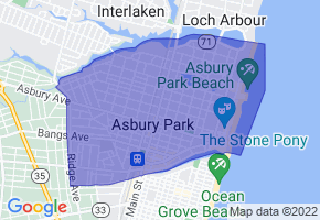 Asbury Park, New Jersey Border Map - Phone Size