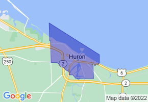 Huron, Ohio Border Map - Phone Size
