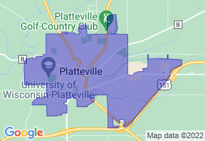Platteville, Wisconsin Border Map - Phone Size