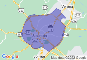 Staunton, Virginia Border Map - Phone Size