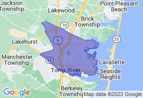 Toms River, New Jersey Border Map - Phone Size