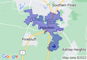 Aberdeen, North Carolina Border Map - Phone Size