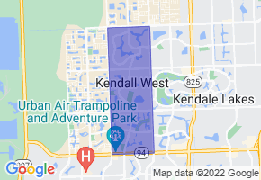 Kendall West, Florida Border Map - Phone Size