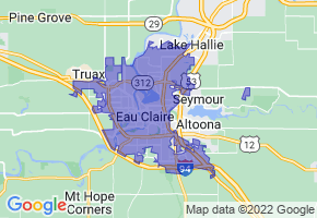 Eau Claire, Wisconsin Border Map - Phone Size