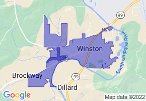 Winston, Oregon Border Map - Phone Size