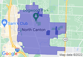 North Canton, Ohio Border Map - Phone Size