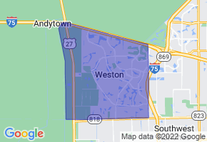 Weston, Florida Border Map - Phone Size