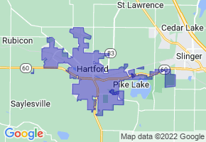 Hartford, Wisconsin Border Map - Phone Size