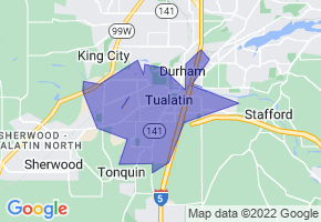Tualatin, Oregon Border Map - Phone Size