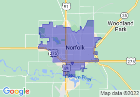 Norfolk, Nebraska Border Map - Phone Size