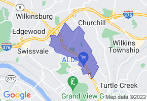 Forest Hills, Pennsylvania Border Map - Phone Size