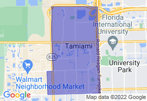 Tamiami, Florida Border Map - Phone Size