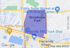 Broadview Park, Florida Border Map - Phone Size