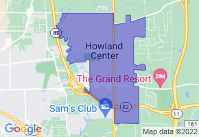 Howland Center, Ohio Border Map - Phone Size