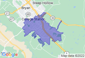 College Station, Texas Border Map - Phone Size