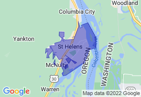 St. Helens, Oregon Border Map - Phone Size