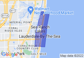 Lauderdale-by-the-Sea, Florida Border Map - Phone Size